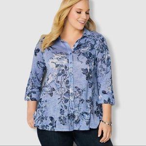 Avenue Floral Blue Button Up Shirt Sz 30/32 NWT
